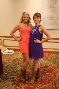 Fellow Intern Lynette (right) and myself in our boots and bling!