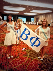 Beta Phi's president Rebecca, right, and me before the Processional!