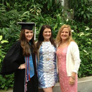 Here's a picture of my mom, sister and I at my sister's college graduation!