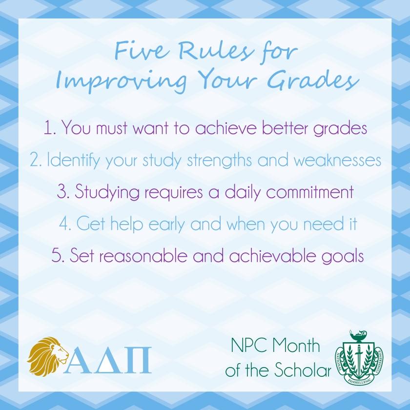 Five Rules for Improving Your Grades | Alpha Delta Pi Blog