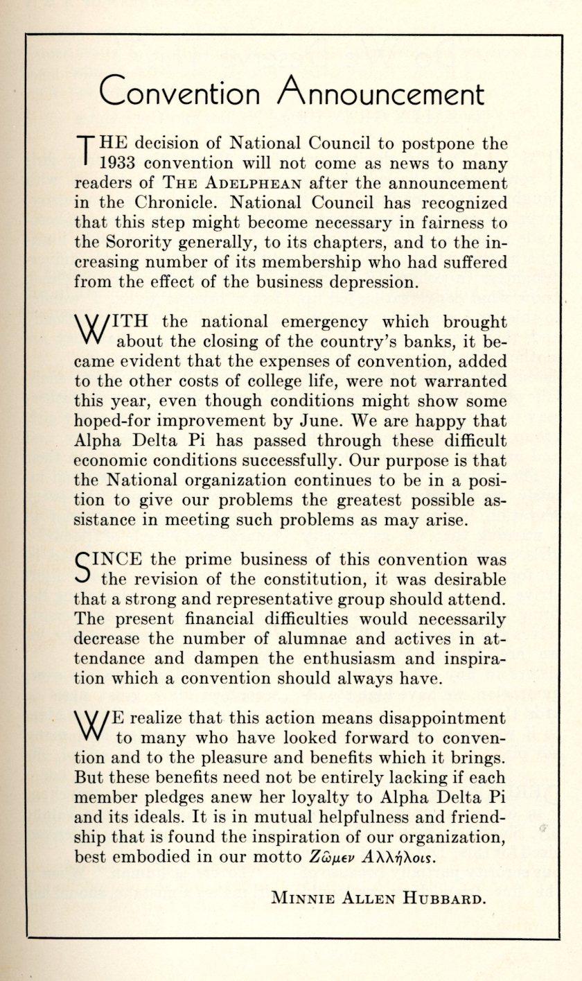 1933 Convention postponed Adelphean April 1933